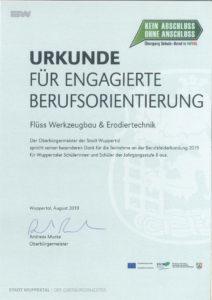 Urkunde für engagierte Berufsorientierung